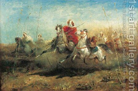 The Chase by Adolf Schreyer - Reproduction Oil Painting