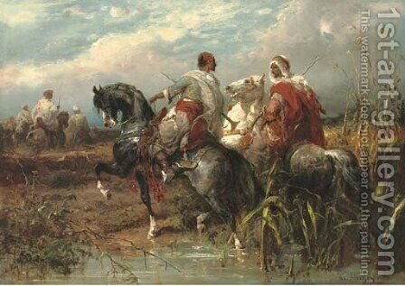 Two arabs fording a stream by Adolf Schreyer - Reproduction Oil Painting