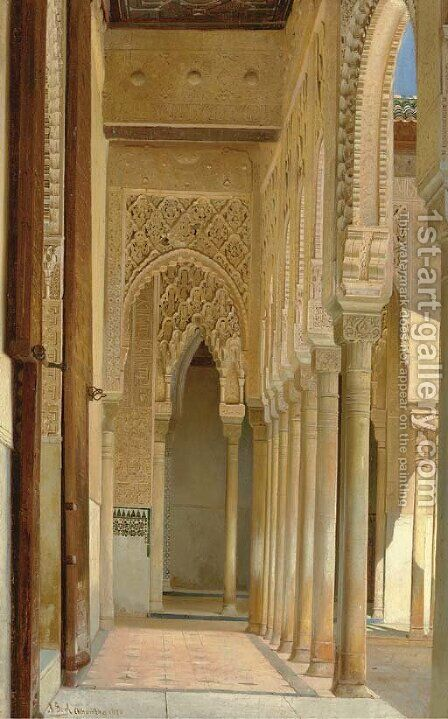 A Colonnade, Alhambra Palace by Adolf Seel - Reproduction Oil Painting