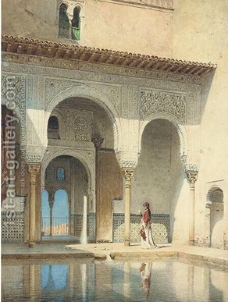 A courtyard in the Alhambra Palace, Granada by Adolf Seel - Reproduction Oil Painting