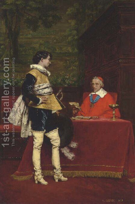 An Audience with Richelieu by Adolphe Alexandre Lesrel - Reproduction Oil Painting