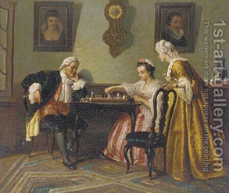 The game of chess by Adolphe Alexandre Lesrel - Reproduction Oil Painting