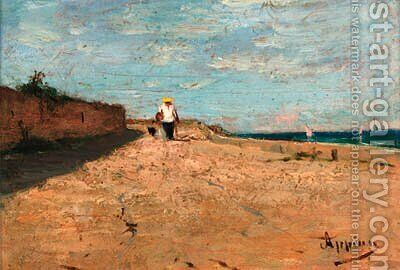 A Parisian coastal view by Adolphe Appian - Reproduction Oil Painting