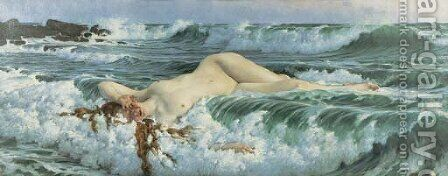 Venus Reclining in the Waves by Adolf Hiremy-Hirschl - Reproduction Oil Painting