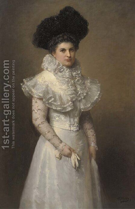 Portrait of a lady, three-quarter-length, in a white dress and black hat by Adolphe Weisz - Reproduction Oil Painting