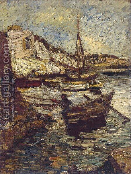 Boats in a harbour by Adolphe Joseph Thomas Monticelli - Reproduction Oil Painting
