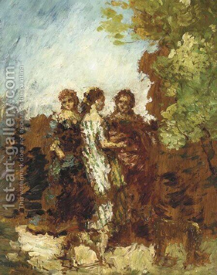 Les trois amies by Adolphe Joseph Thomas Monticelli - Reproduction Oil Painting