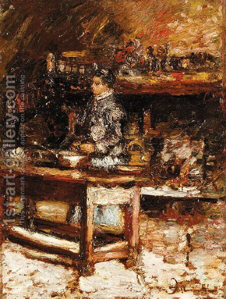 Woman in the kitchen by Adolphe Joseph Thomas Monticelli - Reproduction Oil Painting