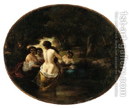 The bathers by Adolphe Joseph Thomas Monticelli - Reproduction Oil Painting