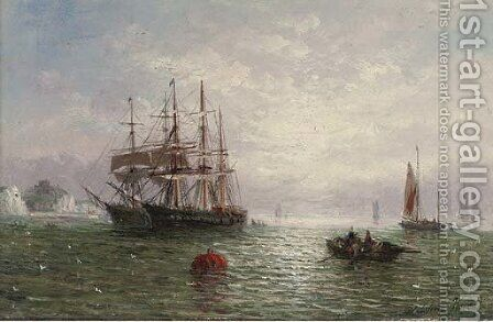 Anchored in calm waters off the coast by Adolphus Knell - Reproduction Oil Painting