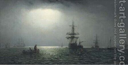 Shipping in coastal waters by moonlight by Adolphus Knell - Reproduction Oil Painting