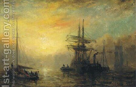 Towing out at dusk by Adolphus Knell - Reproduction Oil Painting