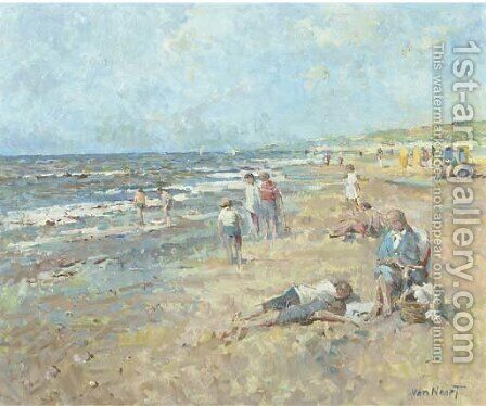 A day at the beach by Adam van Noort - Reproduction Oil Painting