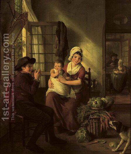 A family in an interior with a dog nearby by Adriaan de Lelie - Reproduction Oil Painting