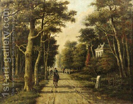 A horseman riding on a country lane by Adriaan Marinus Geijp - Reproduction Oil Painting
