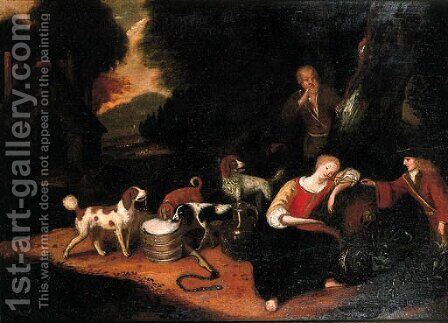 A sportsman teasing a shepherdess asleep at the edge of a wood by Adriaen Cornelisz. Beeldemaker - Reproduction Oil Painting