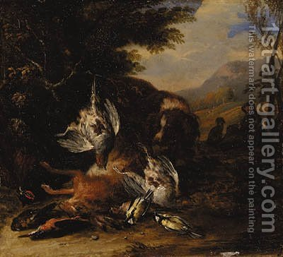 A dead hare, a brace of partridge, a kingfisher, a chaffinch, a thrush and a cock pheasant with a spaniel, a hunter with another dog beyond, in a wood by Adriaen de Gryef - Reproduction Oil Painting
