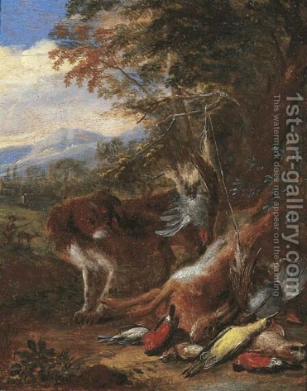 A hunting still life with a spaniel watching a bag of hare and songbirds, a landscape with a hunter and his dog beyond by Adriaen de Gryef - Reproduction Oil Painting