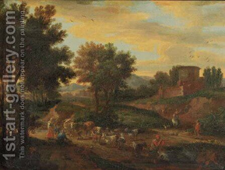 Shepherds fording cattle and flock on a sandy track by a ruined castle, in an Italianate landscape by Adriaen Frans Boudewijns - Reproduction Oil Painting