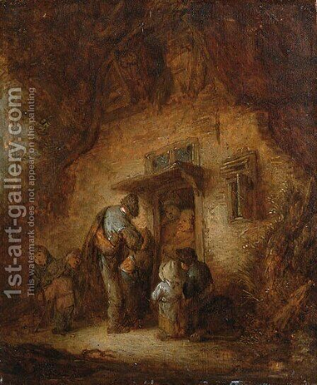 A hurdy-gurdy player with children at a cottage door by Adriaen Jansz. Van Ostade - Reproduction Oil Painting