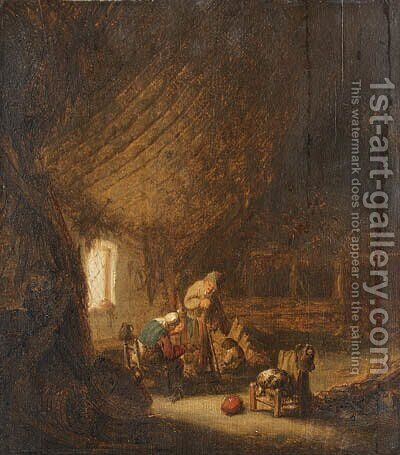 A peasant Family in a Barn with an old Woman spinning by Adriaen Jansz. Van Ostade - Reproduction Oil Painting