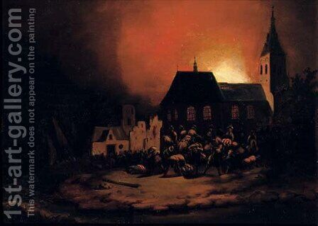 A burning village at night by Adriaen Lievensz van der Poel - Reproduction Oil Painting