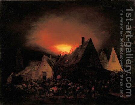 A townhouse ablaze with villagers trying to rescue by Adriaen Lievensz van der Poel - Reproduction Oil Painting