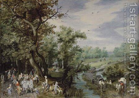 Autumn Prince Maurits going out hawking by Adriaen Pietersz. Van De Venne - Reproduction Oil Painting