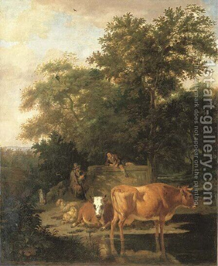 A wooded landscape with herdsmen resting and cows watering by a river by Adriaen Van De Velde - Reproduction Oil Painting
