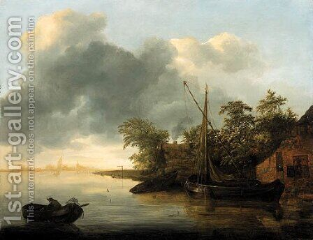 River scene by Adrian van der Cabel - Reproduction Oil Painting
