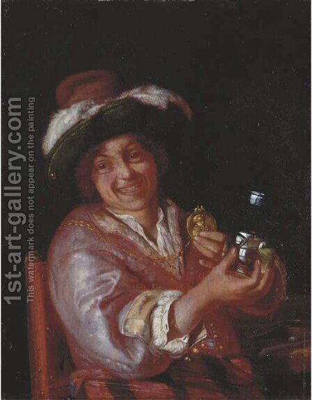 A self-portrait as a Merry Toper by Adriaen Van Der Werff - Reproduction Oil Painting