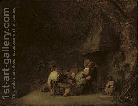 A peasant family by a fireplace in a barn by Adriaen Jansz. Van Ostade - Reproduction Oil Painting
