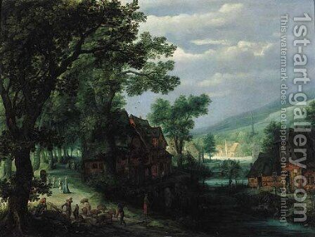 A hamlet by a river, with a swineherd and travellers on a track by Adriaan van Stalbemt - Reproduction Oil Painting