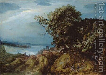 A rocky river landscape with travellers on a path by a town by Adriaan van Stalbemt - Reproduction Oil Painting