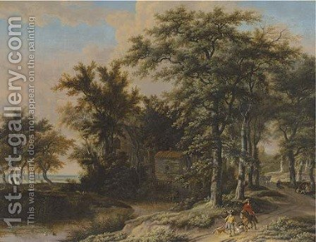 A wooded landscape with hunters on a path by Adriaen Hendricksz Verboom - Reproduction Oil Painting