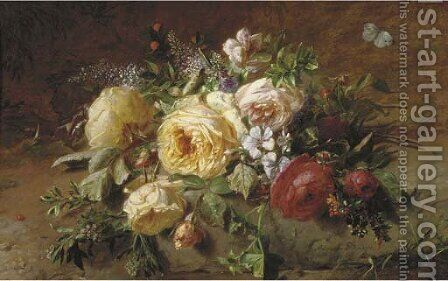 A bouquet with roses by a forest stream by Adriana-Johanna Haanen - Reproduction Oil Painting