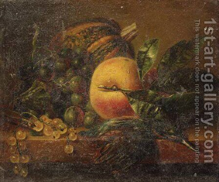 A still life with fruit and a kingfisher on a ledge by Adriana-Johanna Haanen - Reproduction Oil Painting