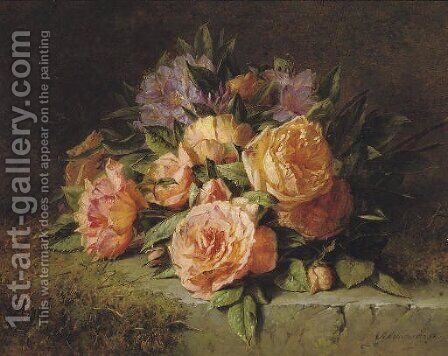 Pink roses and rhododendrons on a marble ledge by Adriana-Johanna Haanen - Reproduction Oil Painting