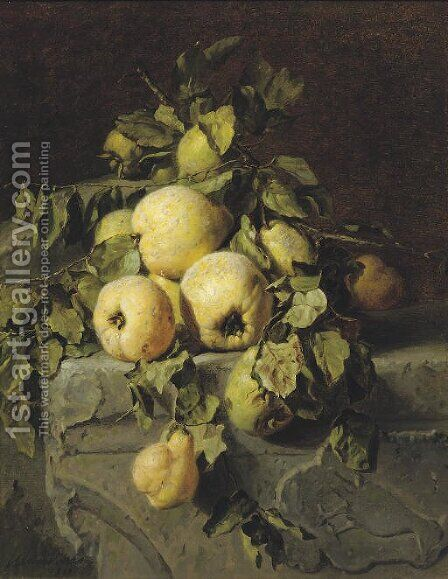 Quinces on a ledge 2 by Adriana-Johanna Haanen - Reproduction Oil Painting