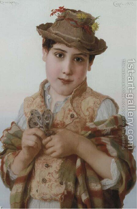 The butterfly boy by Adriano Bonifazi - Reproduction Oil Painting
