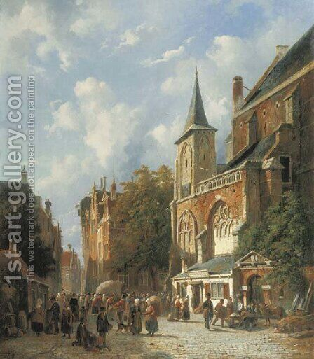 A bustling street by a church in a Dutch town by Adrianus Eversen - Reproduction Oil Painting