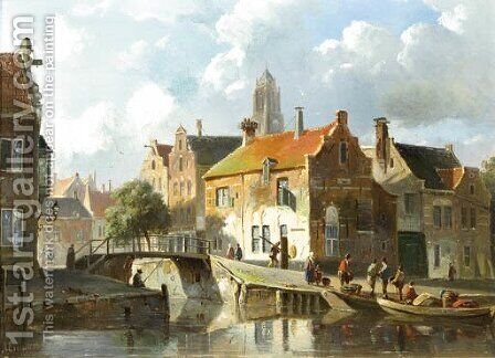A cappriccio view in Utrecht by Adrianus Eversen - Reproduction Oil Painting
