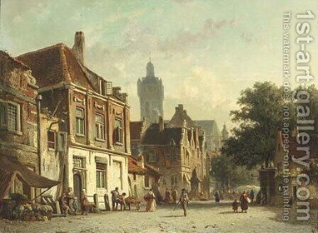 A Dutch town on market day by Adrianus Eversen - Reproduction Oil Painting