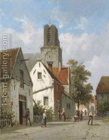 A village street by Adrianus Eversen - Reproduction Oil Painting
