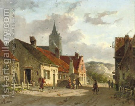 Daily activities in a sunlit Dutch town by Adrianus Eversen - Reproduction Oil Painting