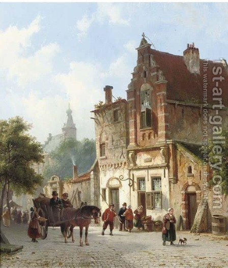 Daily activities in a sunlit Dutch town 2 by Adrianus Eversen - Reproduction Oil Painting