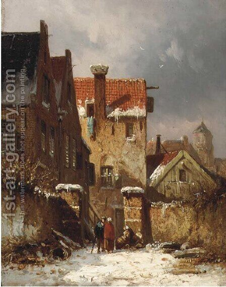 Figures conversing in a Dutch town in winter by Adrianus Eversen - Reproduction Oil Painting