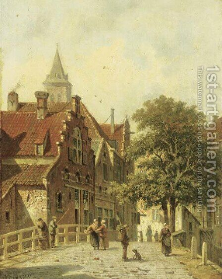 Figures on a bridge in a Dutch town by Adrianus Eversen - Reproduction Oil Painting