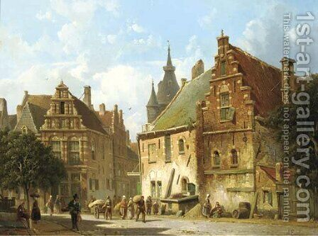 Figures on a sunlit street by Adrianus Eversen - Reproduction Oil Painting