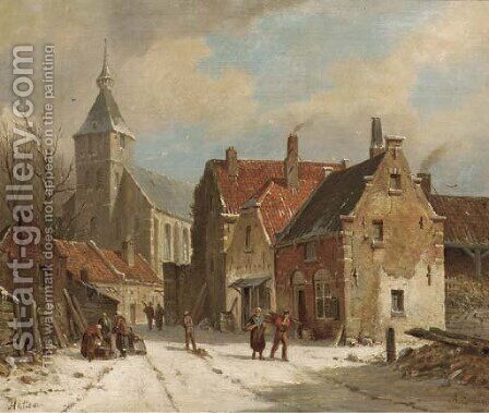 Hattem in winter by Adrianus Eversen - Reproduction Oil Painting